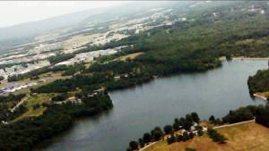 The lake, and beyond that the Fort Indiantown Gap US Army Training base, see if you can spot the runway.
